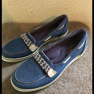 Grasshoppers Ortholite Blue canvas shoes Sz 9.5 W